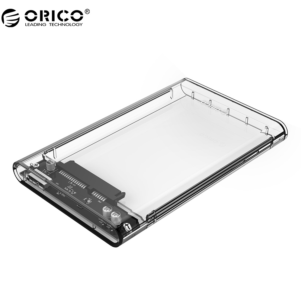 ORICO 2139U3 მყარი დისკი დანართი 2.5 დიუმიანი გამჭვირვალე USB3.0 მყარი დისკის დანართი მხარდაჭერა UASP პროტოკოლი