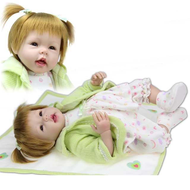cc0a5f8698d657 50-55cm Soft New Reborn Baby Doll Hand-rooted Synthetic Hair Smiling  Silicone Baby