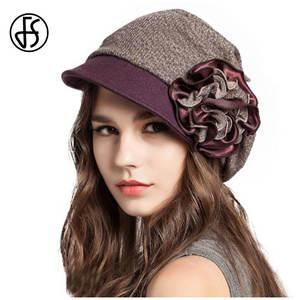 d555c425e31 FS Winter Hats For Women Wool Berets French Warm Lady