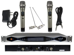 STARAUDIO  2CH UHF True Diversity IR LCD Wireless Handheld Mic System for Stage Church Club Conference Party Karaoke SMU-0218A