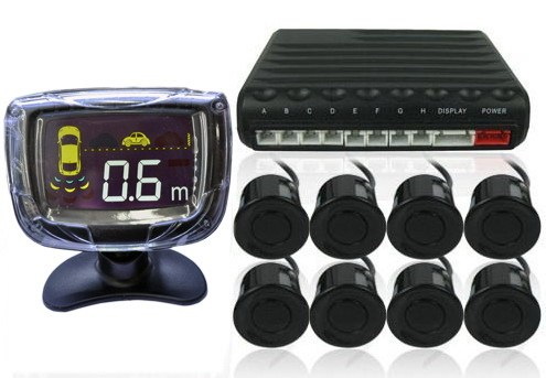 Car Reversing Parking Aid - 8 Parking Sensors + Command Module Box + Display LCD Monitor