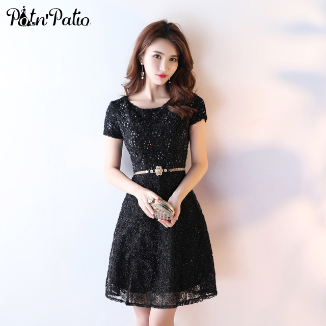 Aliexpress Buy Potnpatio Black Cocktail Dresses With Cap