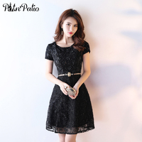 PotN Patio Black Cocktail Dresses With Cap Sleeves Elegant Simple Lace Short Prom Dresses Wtih Rhinestone