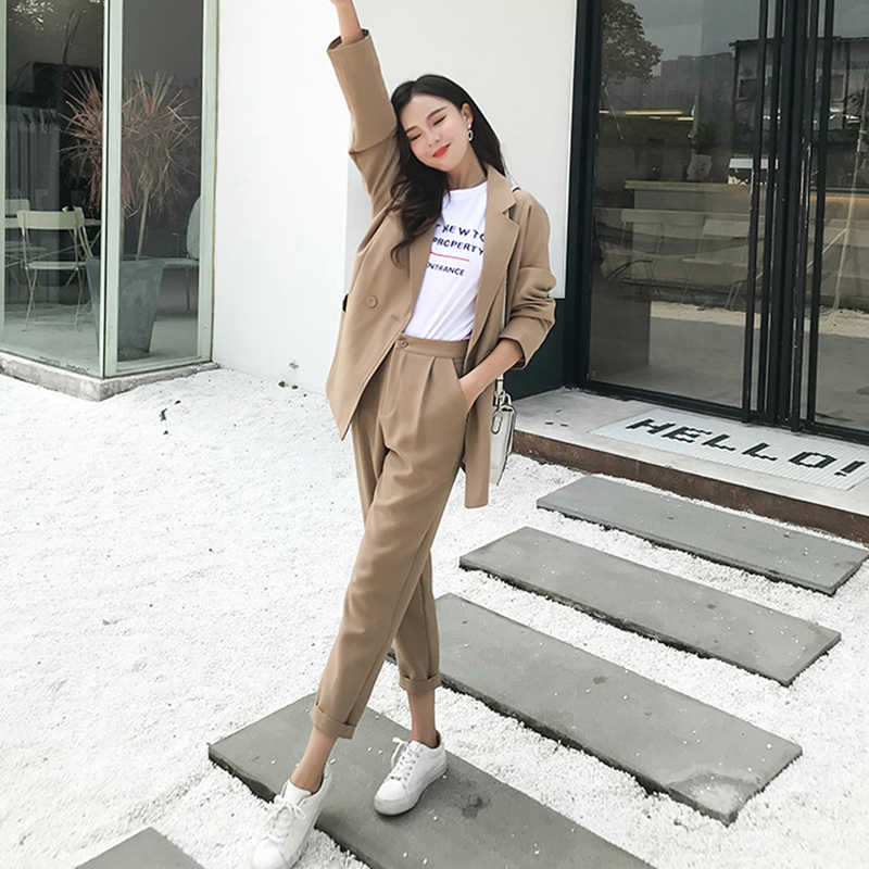 Fashion Khaki Women Pant Suits Loose Notched-neck Blazer Jacket & High Waist Pencil Pants 2019 Casual Female 2 Pieces Set