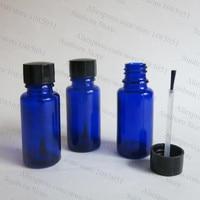 15 мл синий лак для ногтей, 15 см синий кобальт стеклянная бутылка с черной кистью, 1/2 ногтей контейнер