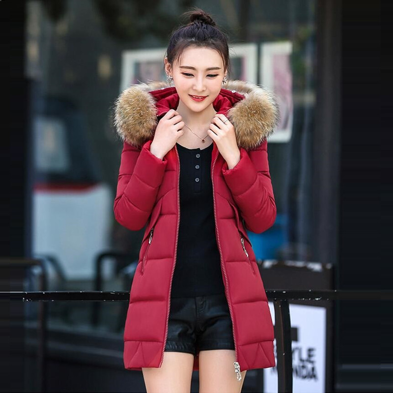New Arrival Warm Long Winter Jacket Down Women Slim Artificial raccoon Fur collar Fashion Cotton Thick Female Parka Women's coat 2017 winter new clothes to overcome the coat of women in the long reed rabbit hair fur fur coat fox raccoon fur collar