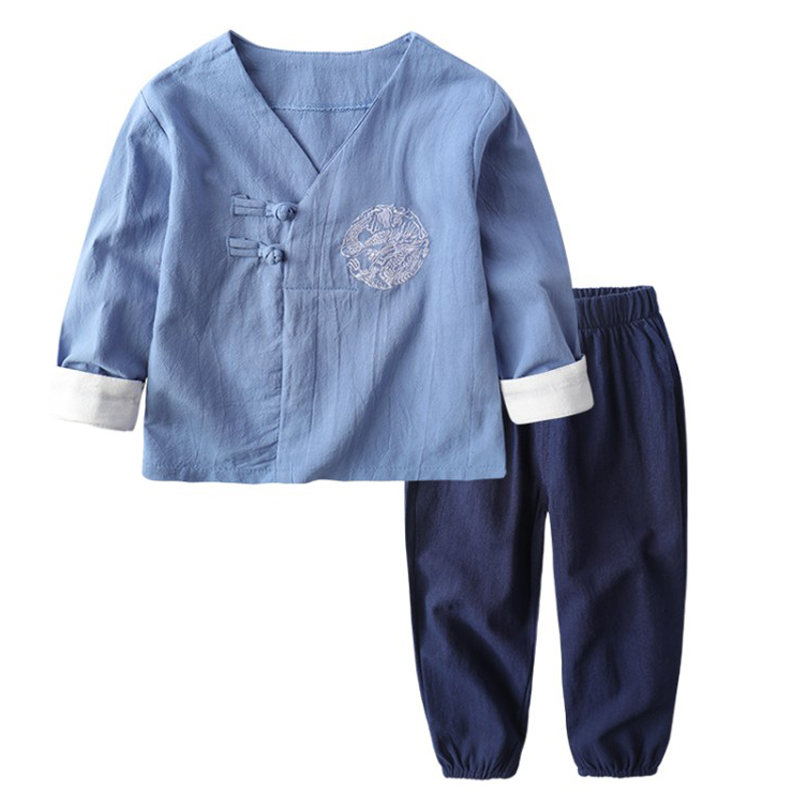 Baby Boys Clothing Sets 2018 Spring Kids Toddler Clothes Sets 2pcs Chinese Cheongsam Cotton Tops+Pants Boys New Year Outfits 2pcs toddler kids baby boy clothes sets t shirt tops short sleeve pants harem outfits set cotton clothing baby boys 1 6t