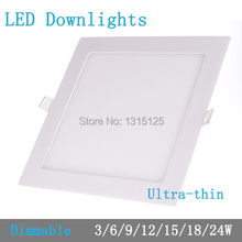 Thickness 3W/6W/9W/12W/15W/18W/24W dimmable LED downlight Square LED panel Ceiling Recessed Light bulb lamp AC85-265V smd2835