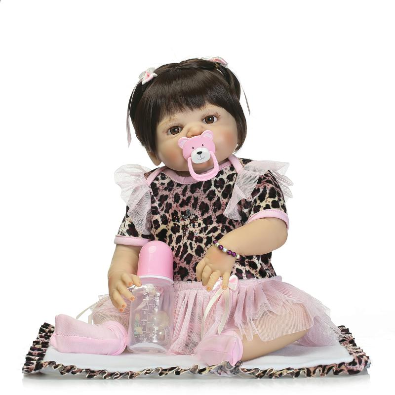 Nicery 22inch 55cm Magnetic Mouth Reborn Baby Doll Hard Silicone Lifelike Toy Gift for Children Christmas Leopard Pink Dress футболка toy machine leopard brown