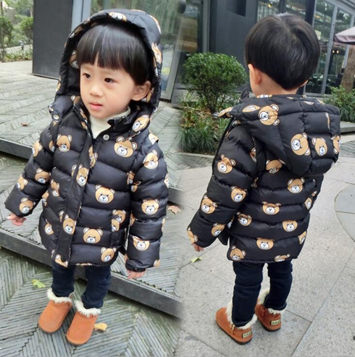80-120 Children's boy Little bear Cartoon cotton-padded jacket kids winter Cotton-padded coat