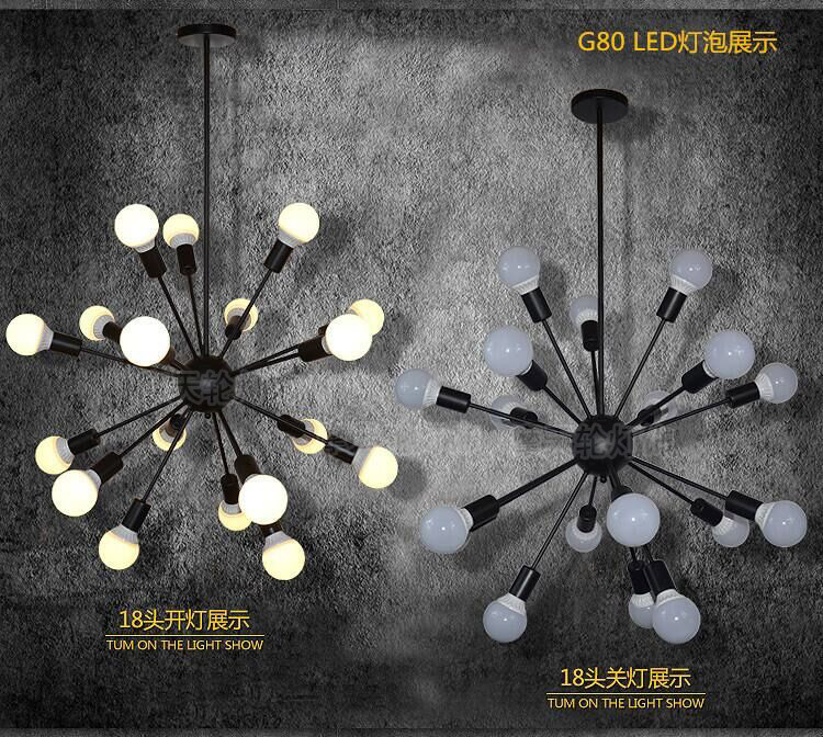 DIY Pendant lights Modern Nordic Retro Hanging Lamps Edison Bulb Fixtures Spider Ceiling Lamp Fixture Light for Living Room