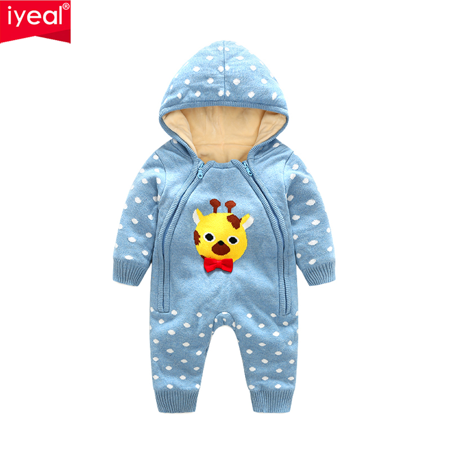IYEAL New Arrival Cute Animal Cotton Long Sleeve Baby Rompers Soft Infant Baby Girl Boy Clothes Newborn Warm Hooded Jumpsuit iyeal baby rompers warm soft flannel winter baby clothes cartoon animal 3d ears children girls jumpsuit newborn infant romper
