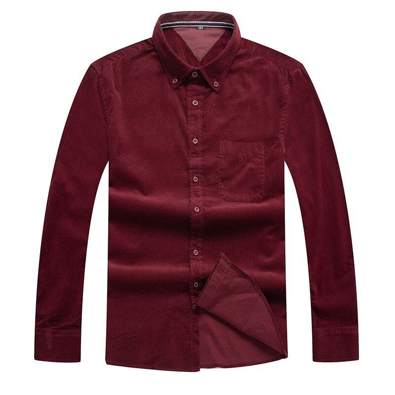 Красный плюс Размер 6XL 8xl мужские вельветовые Мужская классическая рубашка с длинным рукавом Turn-Down Воротник однобортные Умные повседневные ...