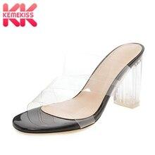 Купить с кэшбэком KemeKiss Plus Size 34-48 Women Sandals Transparent Slippers Clear High Heels Sandals 2019 Summer Beach Vacation Shoes Women