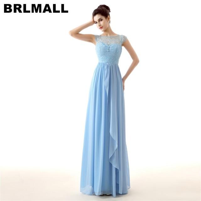 BRLMALL Stunning Cap Short Sleeves Prom Dress Buttons A Line Chiffon ...