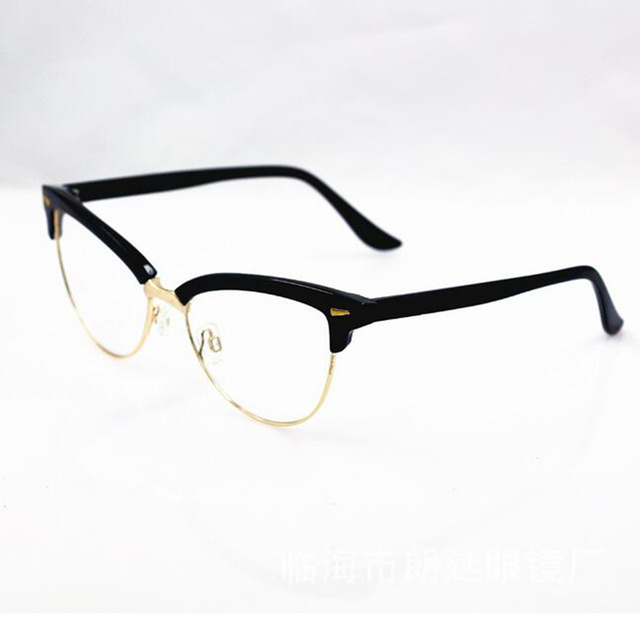 6c423c562b Women s Half Rim Cat Eye Eyewear Frames Metal Rivet Optical Glasses Frame  Brand Designer Computer Clear Lens GLasses Gafas A1