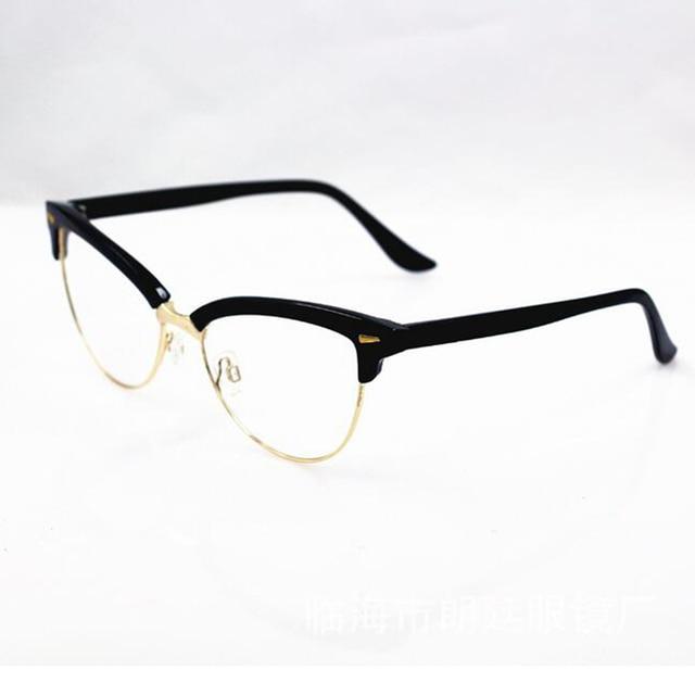 b9a6a49a0f9 Women s Half Rim Cat Eye Eyewear Frames Metal Rivet Optical Glasses Frame  Brand Designer Computer Clear Lens GLasses Gafas A1