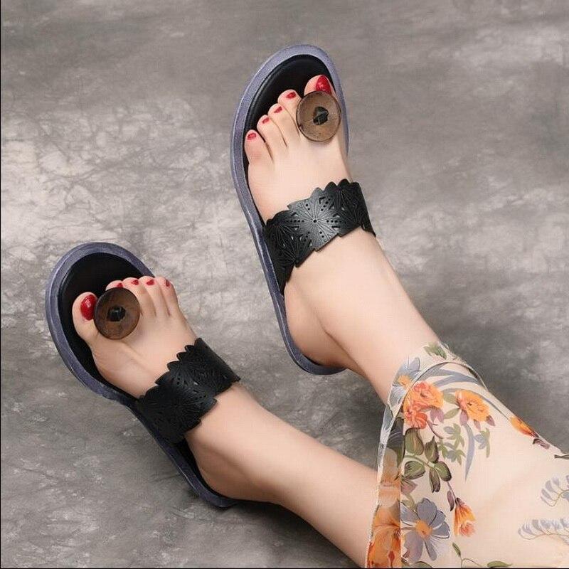 2019 été en cuir véritable femmes sandales littéraires rétro tongs pour femmes femmes plage pantoufles Top qualité dames chaussure Sli - 3