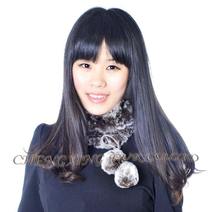CX-S-160D для девочек, модный двусторонний Настоящий мех кролика, вязаный шарф - Цвет: brown frost