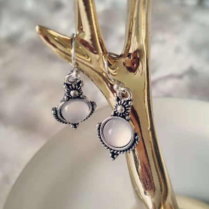 Vintage plata Color blanco translúcido Natural redondo piedra lunar gota pendientes declaración joyería regalo colgante pendiente ganchos hembra