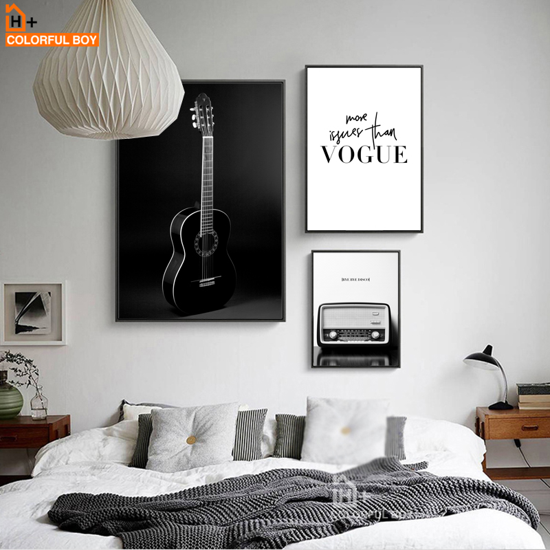 Colorfulboy Black White Guitar Home Decor Wall Art Canvas