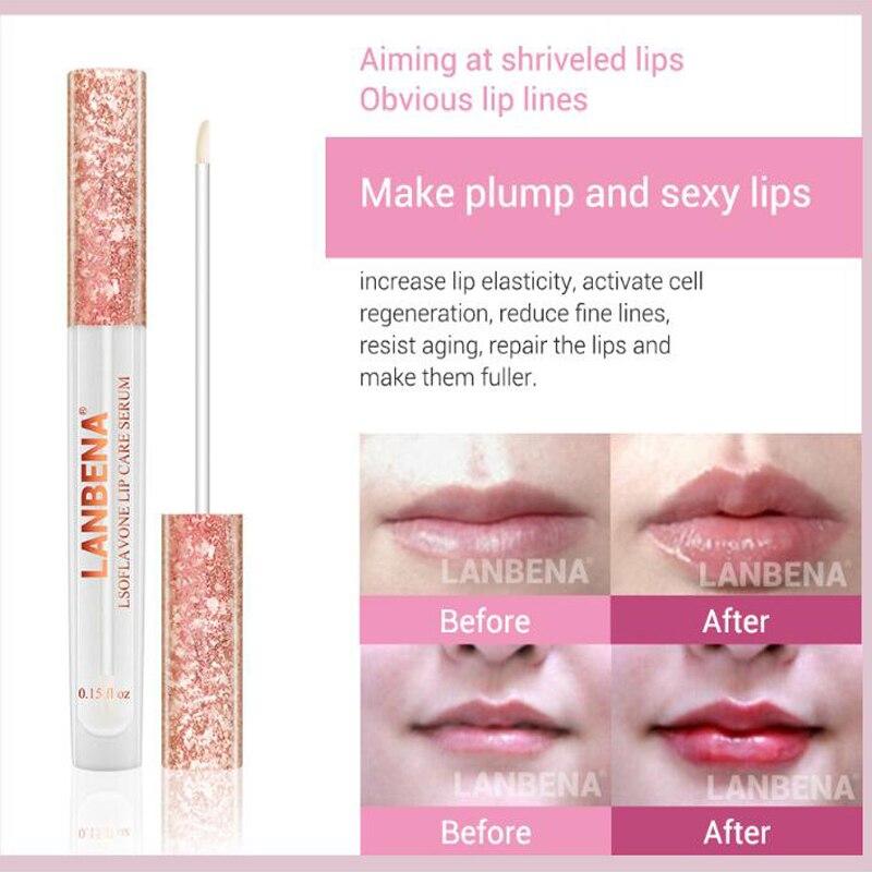 1000pcs  LANBENA Lsoflavone Plumper Lip Care Serum Moisturizing Anti Drying Lip Fine Lines Lip Balm