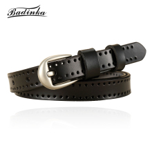 Badinka 2018 New Designer Women Vintage Black White Red Genuine Leather Thin Waist Belt Woman Female Lady's Jean Waistband Belts