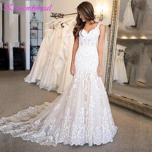Image 2 - DZW576 Vestido Novia Mermaid Wedding Dresses Straps Lace Applique Wedding Dress  Wedding Gowns for Bride Robe Mariee Dentelle