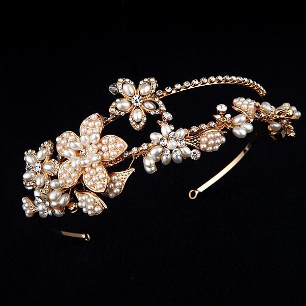 Dower me Vintage Wedding Tiara Gold Bridal Floral Headband Handmade Pearl  Headpiece Hair Accessories on Aliexpress.com  2136ad826033