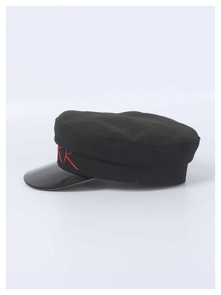 8f10cd18f50ed ROSELUOSI mujeres negro Sombrero militar Otoño Invierno lana Newsboy ...