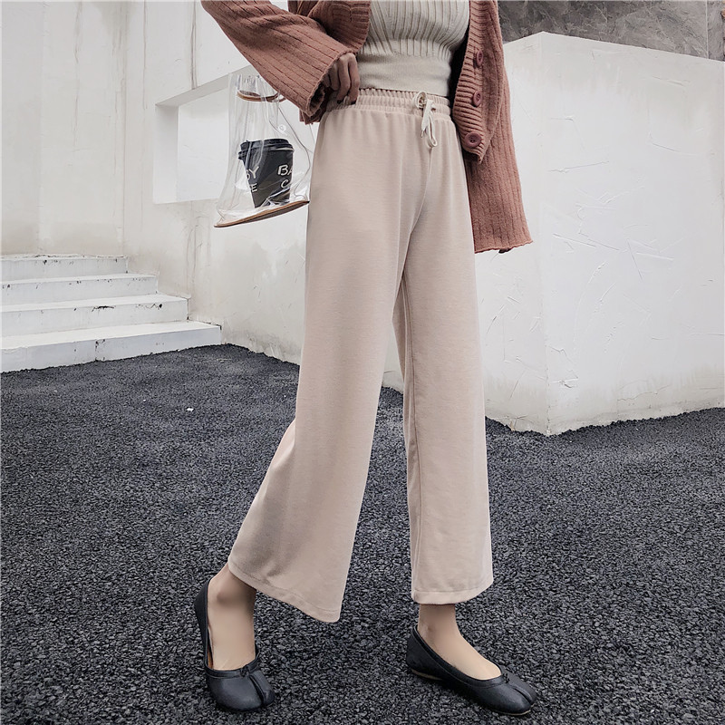 Knitted straight pants 2019 New casual straight pants loose wide leg pants fall wide leg pants women Sweatpants Female Trousers
