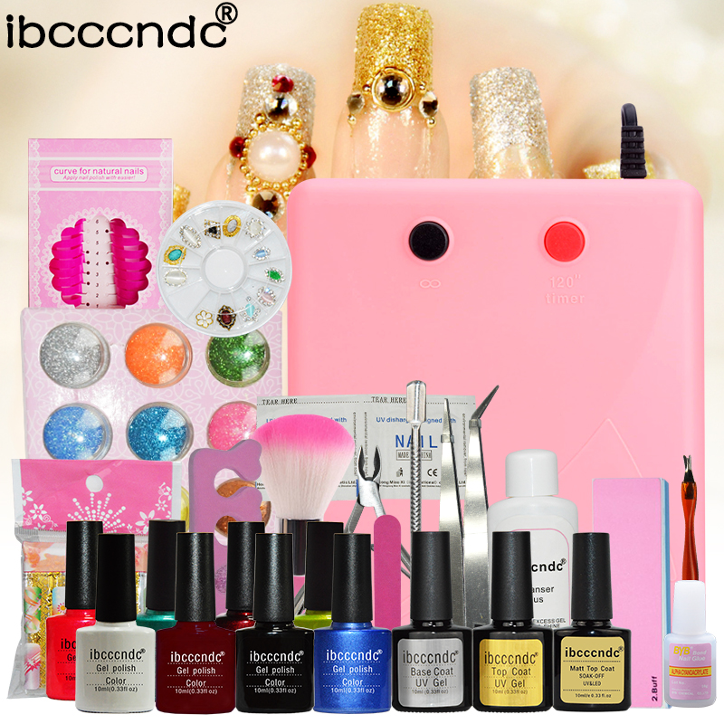 Nail Art Manicure Set 36W UV Nail Lamp 8 Colors Nail Gel Polish Base Gel Top Coat With Remover Pad Glitter Nail File Tools Kit nail art manicure tools 36w uv lamp 6 colors soak off gel varnish nail base top coat polish with remover practice set file kit