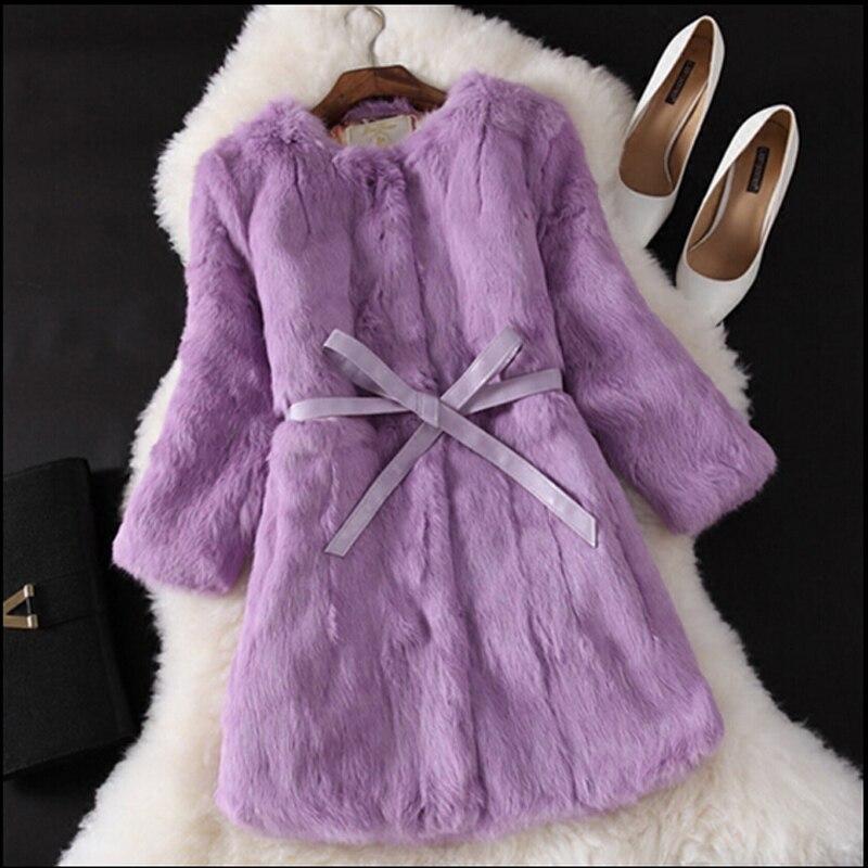 Natural Fur Coat New Winter Entire Skin Real Rabbit Fur Coat Female Three Quarter Sleeve Soft Fur Coats With Belt Long Clothing