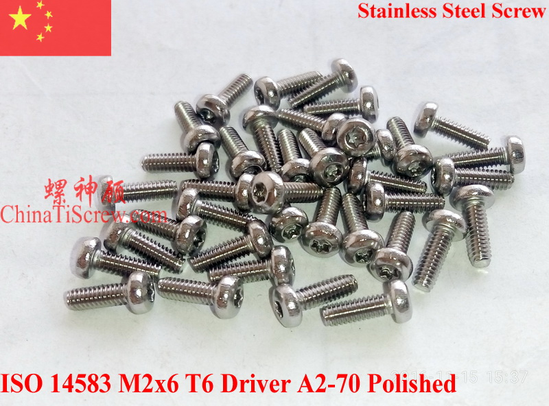 Stainless Steel Screws M2x6 ISO 14583 Pan Head Torx T6 Driver A2-70 Polished ROHS 100 pcs