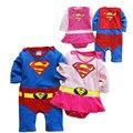 Batman Traje dos desenhos animados de Algodão Crianças Meninos Roupas Macacão Macacão de Bebê Menino Superman Romper Do Bebê Do Bebê Gilr Fantasias de Super-heróis