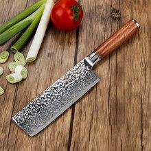 BIGSUNNY 6,8 «ножи накири, дамасская сталь, молотая отделка, ручка из розового дерева, нож для овощей для домашней кухни или ресторана
