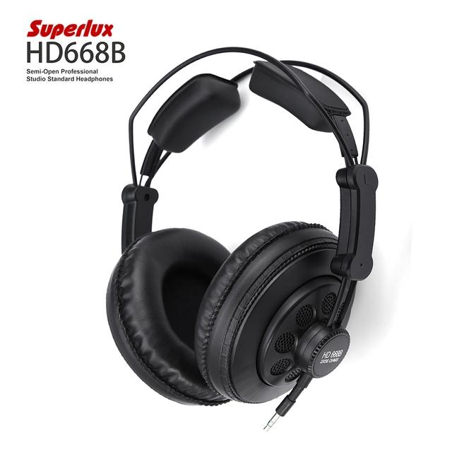 Superlux HD668B Cable Semi-abierta Estudio Profesional Dinámico Estándar Heandset Diadema Cancelación de Ruido Auriculares de Música de Alta Fidelidad