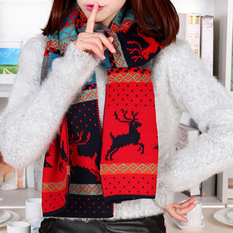 2016 Winter New Women Christmas Deer Printed Pattern Knitted Scarf Female Warm Shawls Bohemia Cotton Scarves Gift Сумка