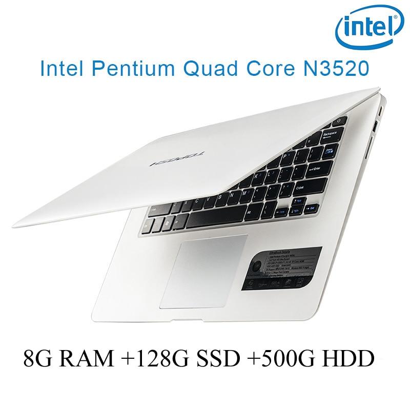 """עבור לבחור P1-01 לבן 8G RAM 128g SSD 500G HDD Intel Pentium 14"""" N3520 מקלדת מחברת מחשב ניידת ושפת OS זמינה עבור לבחור (1)"""