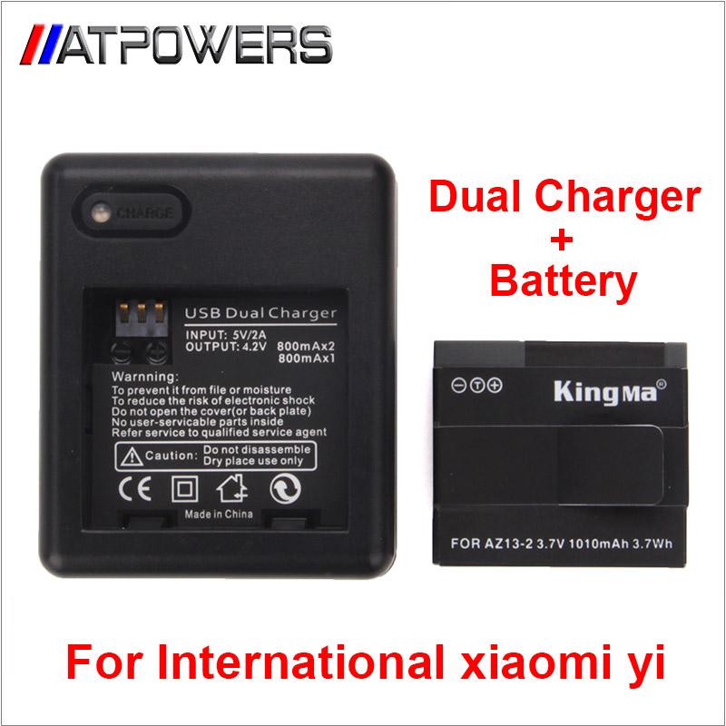 Prix pour International version Xiaomi yi Xiaoyi remplacer Batterie Rechargeable Batterie + Double Chargeur Pour International yi Camera Action