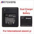 Versión internacional xiaomi yi xiaoyi batería de reemplazo de la batería recargable + cargador doble para yi cámara de la acción internacional