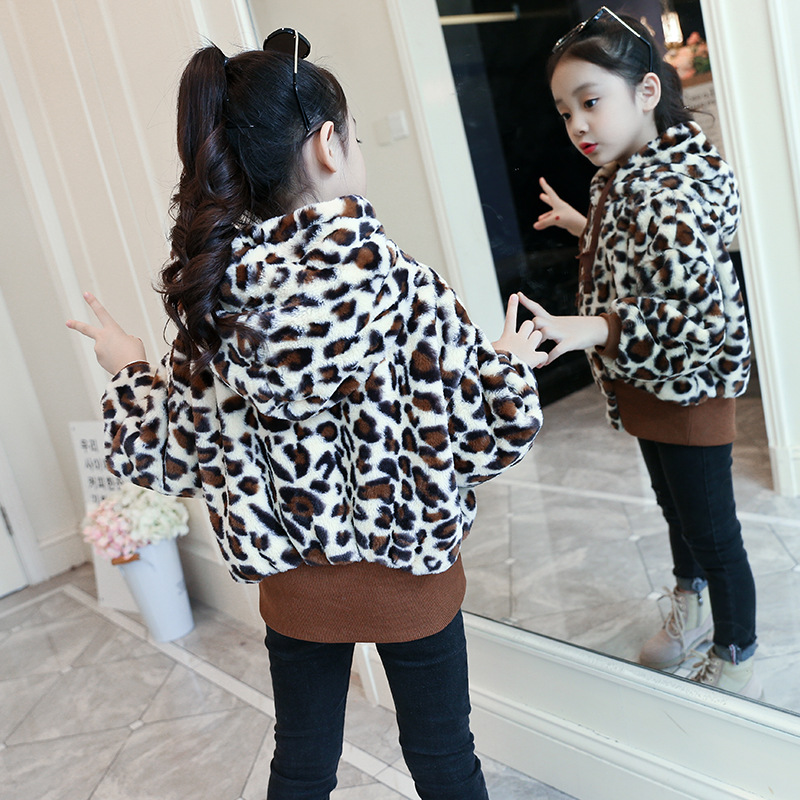 Girls Winter Coat 2018 New Fashion Jackets Leopard Print Hooded Thicken Warm Outwear Kids Clothes 4 5 6 7 8 9 10 11 12 13 Years