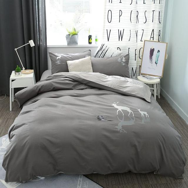 100 Cotton Grey Brown Bedding Set Queen King Size Deer Elephant Bed