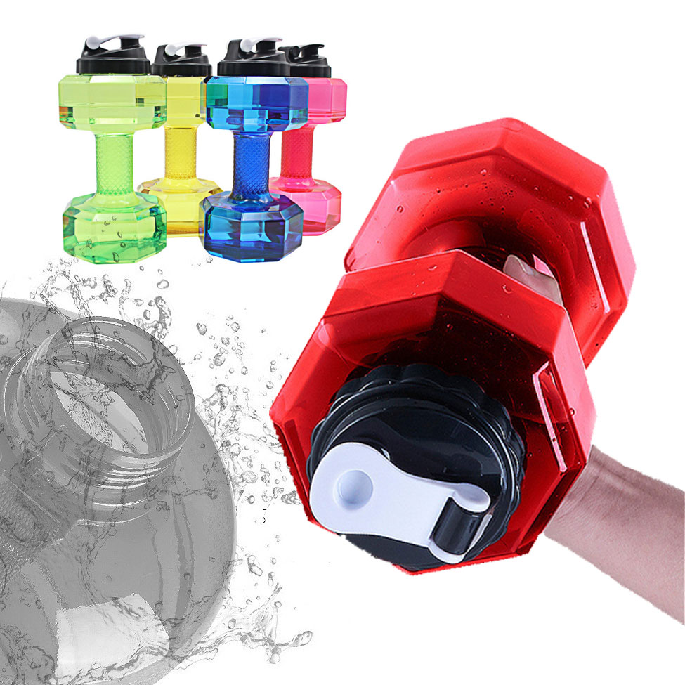 2.2 L Natural Hiking Dumbbell Gym Sport Bottle Portable Water Bottle Men's Plastic Large Water Cup Fitness Cup Dumbbell