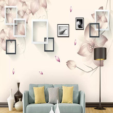 Factory direct modern minimalist box flower art TV background wall