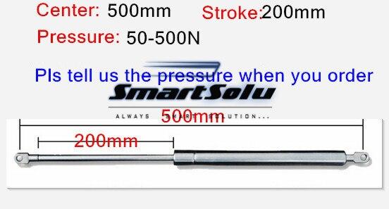 Livraison gratuite 50 à 500N force 500mm central distance 200mm course, Ressort À Gaz en acier inoxydable, ascenseur Prop Gas Spring Damper