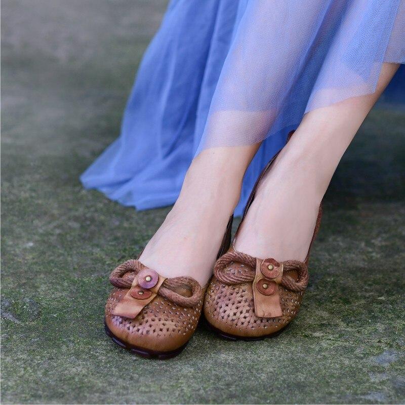 Casuales Sandalias Antideslizante Mujer Vaca Plano De Verano 2019 Tacón Zapatos Con Cuero Coffee Superficial Cubierta Retro En Nuevo Johnature Sólido wagYqS6