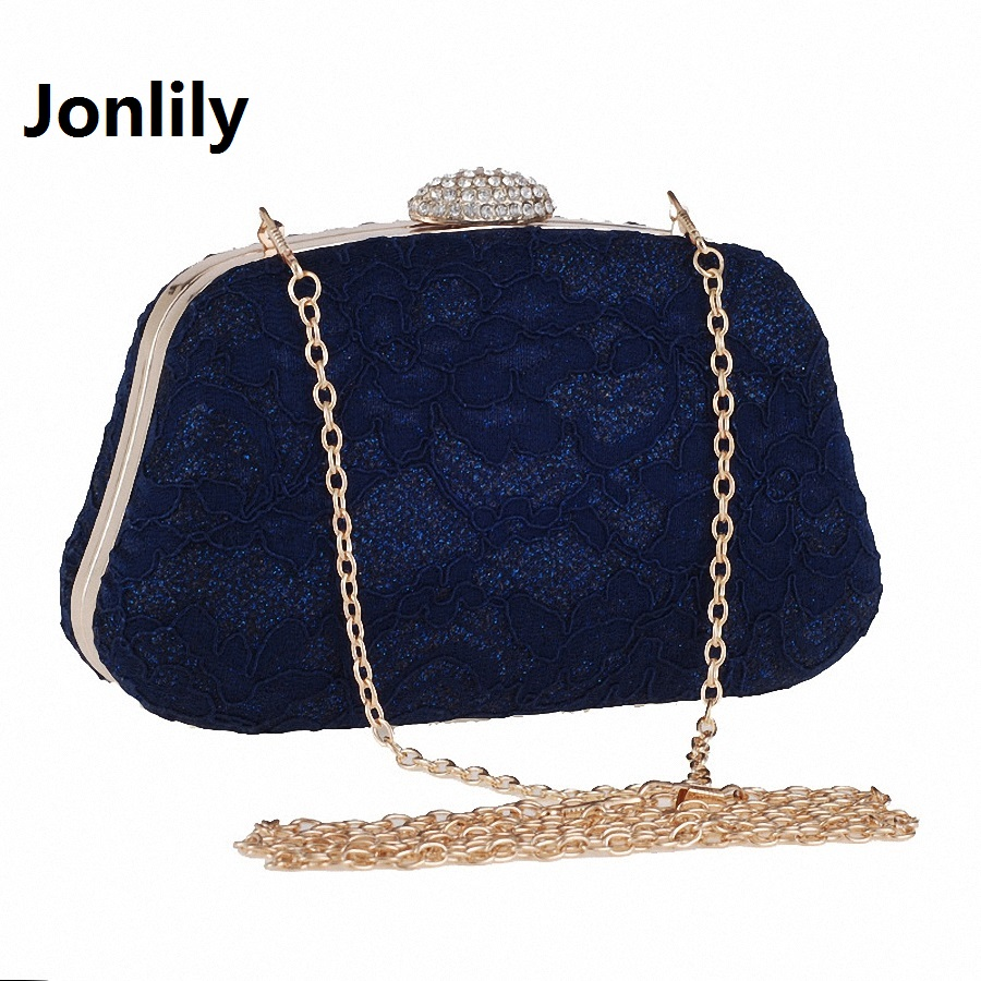 Jonlily Bridal Wedding Satin Evening Bags Lace Floral Day Pouch Clutches Women Messenger Shoulder Bag Purse Party Girl LI-298 retro 2017 floral beaded handbag women shoulder bags day clutch bride rhinestone evening bags for wedding party clutches purses
