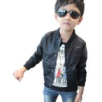 New 2017 Spring Fashion Baby Boys Skull Print Faux Leather Jackets Coat Kids Trendy Autumn Motorcycle