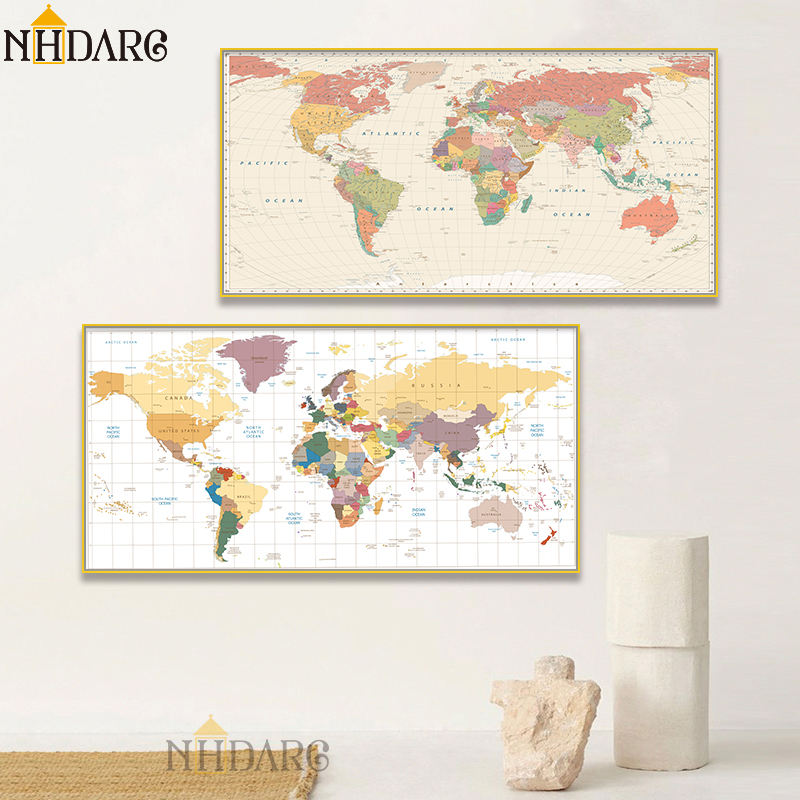 Vintage World Map Modern Home Decor Posters And Prints Canvas Painting Art Wall Pictures For Living Room Nordic Decoration